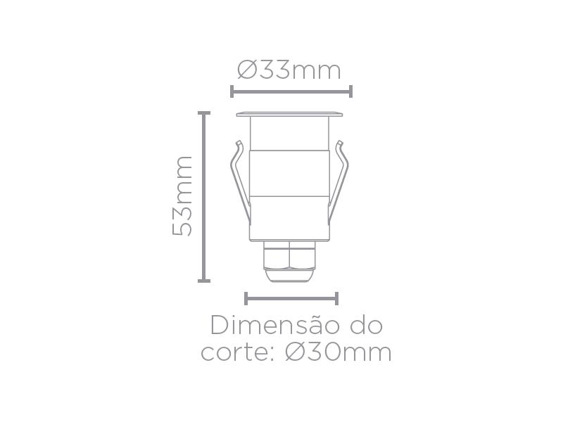 Balizador Solo LED Stella STH6710/30 Spur Redondo Luz Geral 1W 3000K IP67 Bivolt