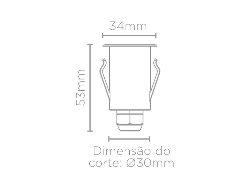 Balizador Solo LED Stella STH7710/30 Spur Quadrado Luz Geral 1W 3000K IP67 Bivolt