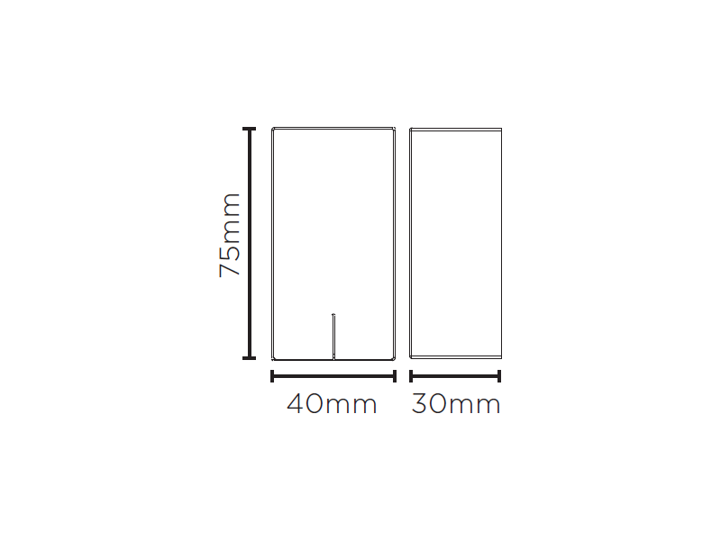 Balizador Sobrepor LED Stella STH8741/30 Risk 3W 3000K IP65 Bivolt 30x40x75mm - Preto
