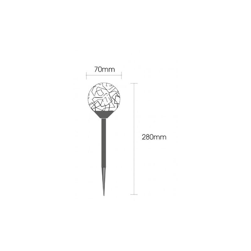 Balizador Solar Ecoforce LED 17272 Globo Inox Multicor 0.06W IP54 70x70x280mm