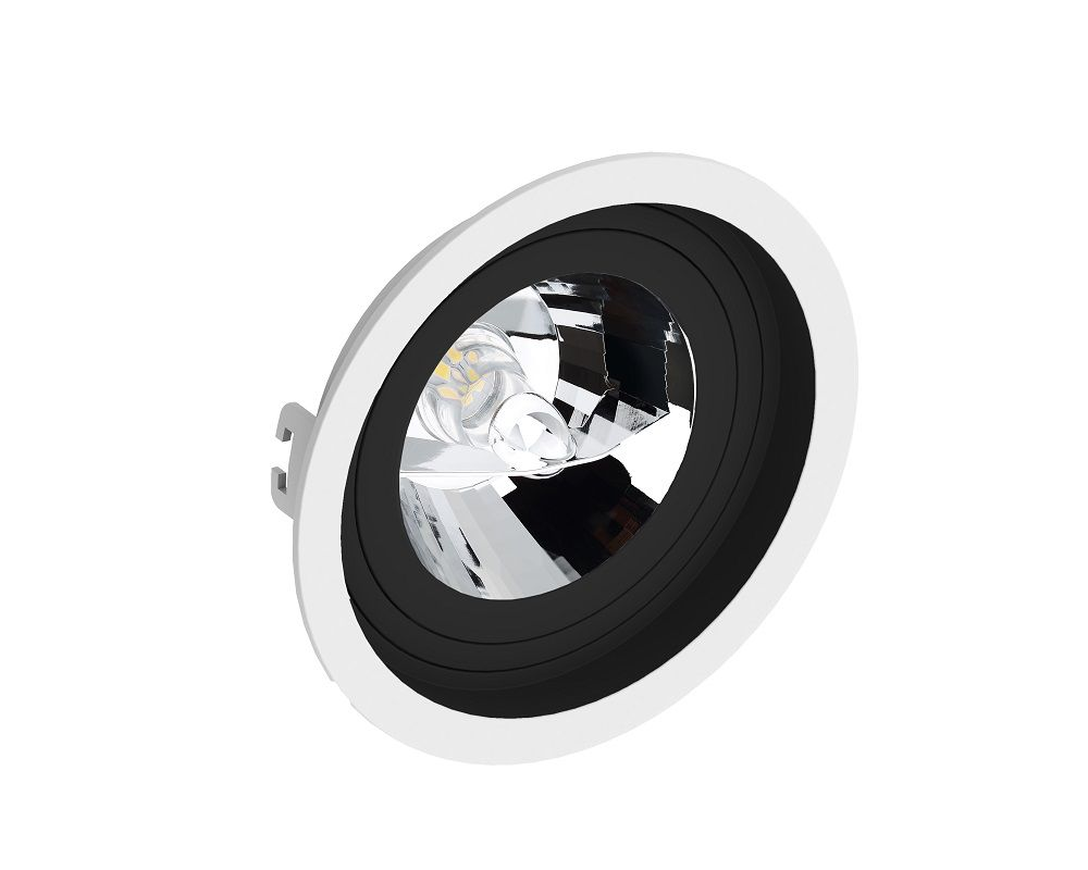 Spot Embutir Save Energy SE-330.1206 Redondo Recuado AR111 GU10 Ø170x35mm Branco/Preto