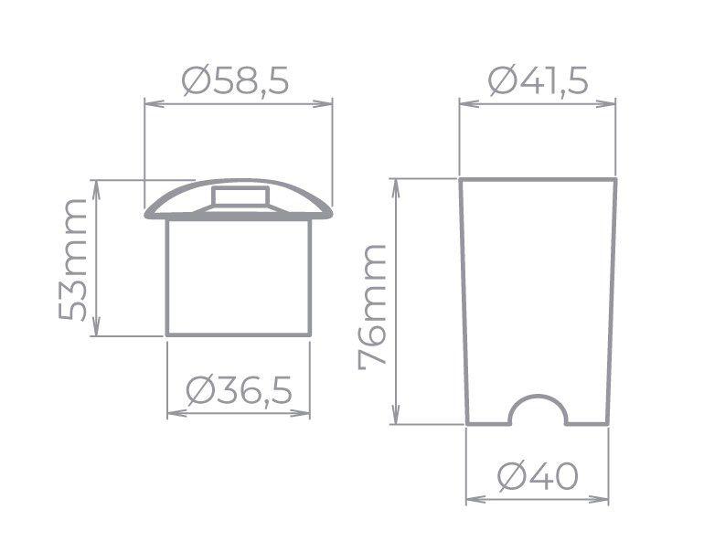 Embutido De Solo LED Stella STH7704/30 Balize 1 Facho 1W 3000K IP67 Bivolt - Preto