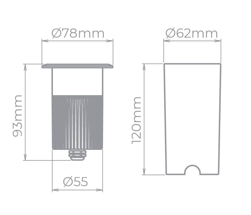 Embutido De Solo LED Stella STH8716/30 Focco Grid C/ Grade 5W 3000K IP67 12G Bivolt - Preto