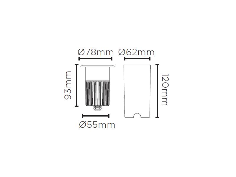 Embutido De Solo LED Stella STH8717/30 Focco Grid C/ Grade 10W 3000K IP67 12G Bivolt - Preto