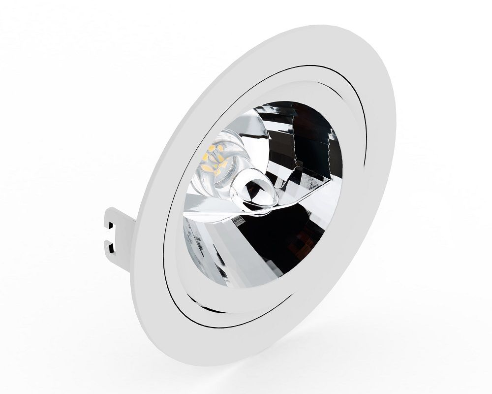 Spot Embutir Save Energy SE-330.1065 Redondo Face Plana AR111 GU10 Ø170x35mm Branco