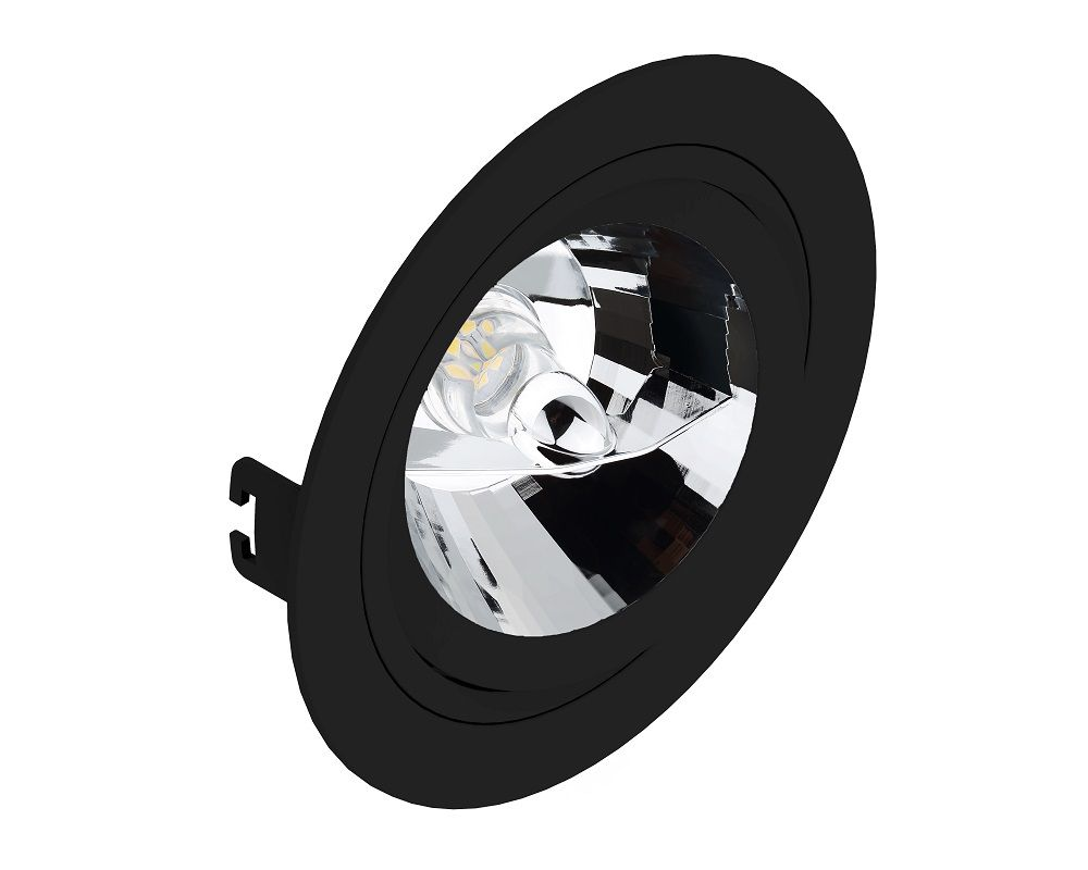 Spot Embutir Save Energy SE-330.1069 Redondo Face Plana AR111 GU10 Ø170x35mm Preto