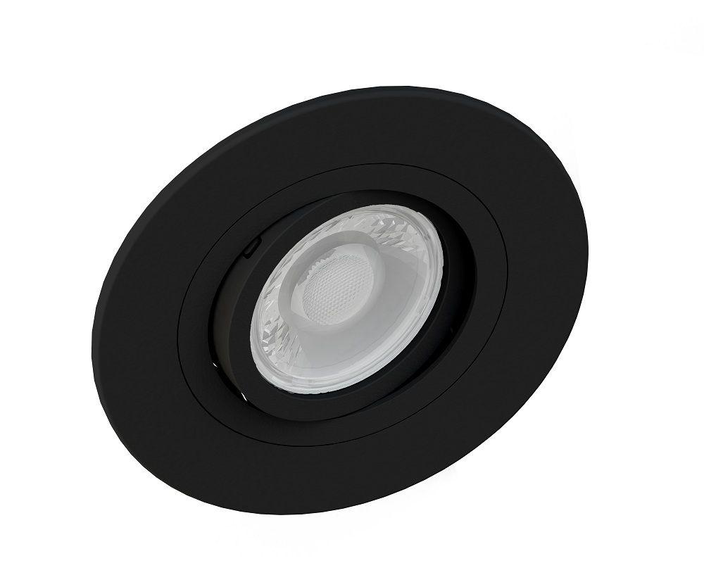 Spot Embutir Save Energy SE-330.1037 Redondo Face Plana Dicróica/PAR16 GU10 Ø100x35mm Preto