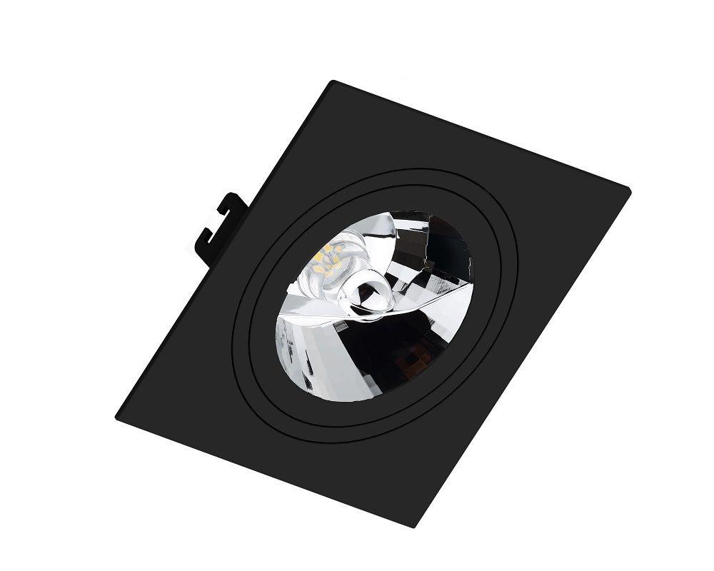 Spot Embutir Save Energy SE-330.1067 Quadrado Face Plana AR111 GU10 170x170x35mm Preto