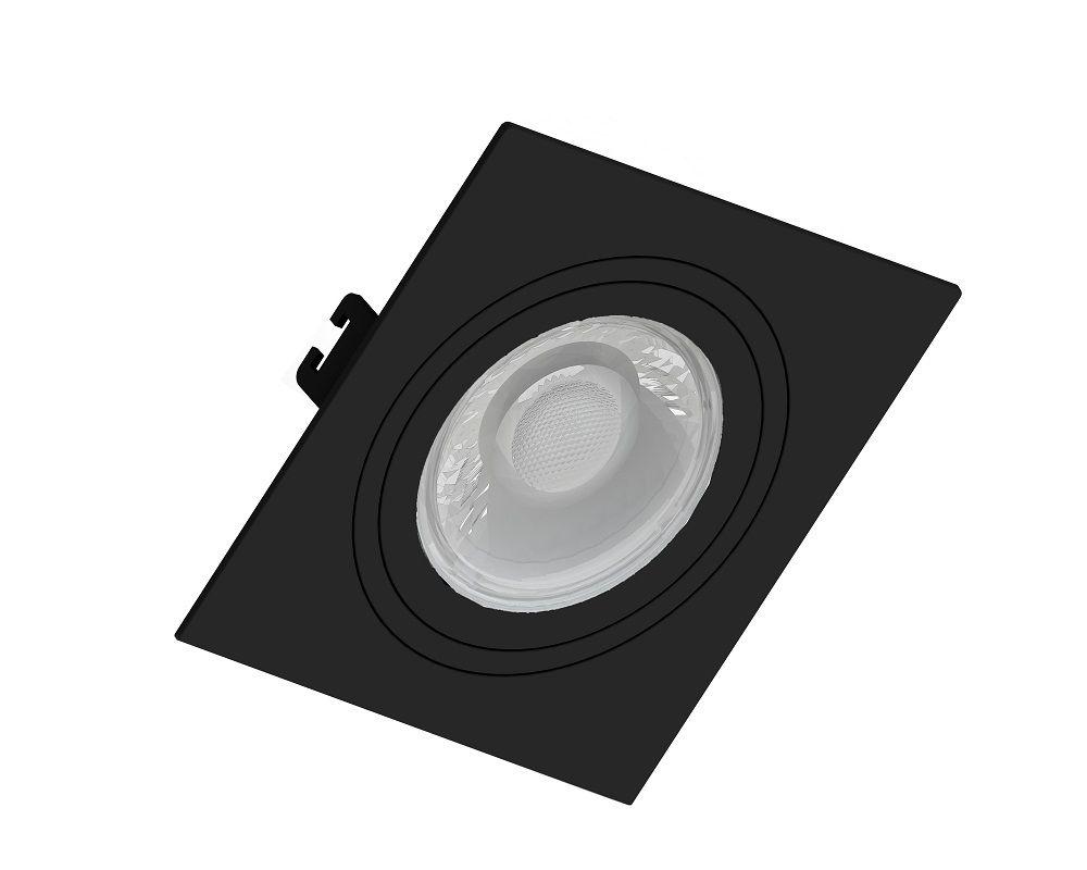 Spot Embutir Save Energy SE-330.1035 Quadrado Face Plana Dicróica/PAR16 GU10 100x100x35mm Preto