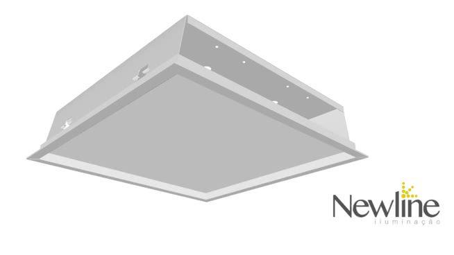 Luminária Embutir LED Newline 591LED3 Slim II 32W 3000K Bivolt 317x317x72mm
