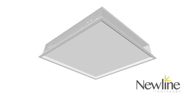 Luminária Embutir LED Newline 592LED3 Slim II 60W 3000K Bivolt 417x417x72mm