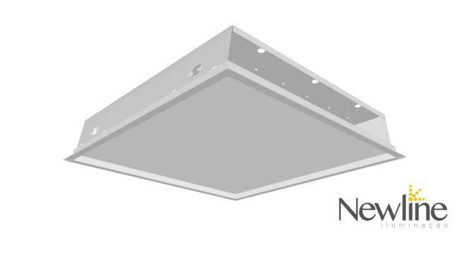 Luminária Embutir LED Newline 593LED3 Slim II 96W 3000K Bivolt 616x616x110mm