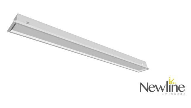 Luminária Embutir LED Newline 596LED3 Slim II 32W 3000K Bivolt 1170x126x72mm