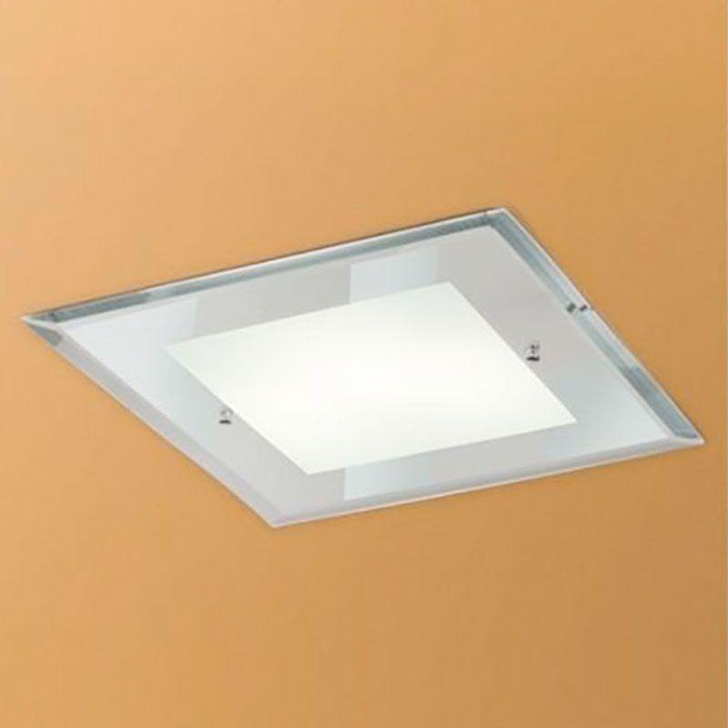 Plafon Madeira Embutir Madelustre 2448 Clean Vidro Espelhado 1L E27 230x230mm - Alumínio Branco