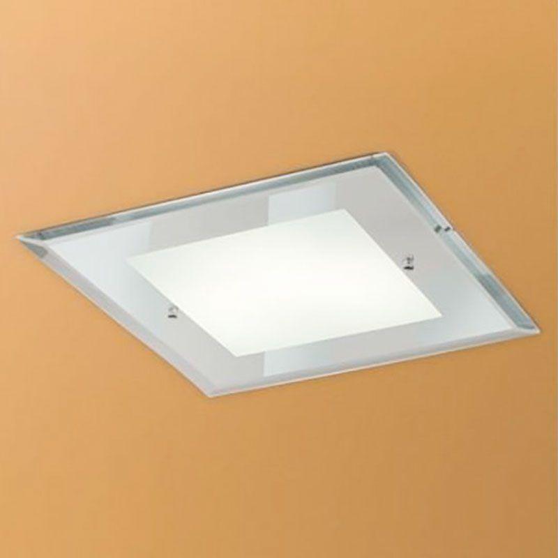 Plafon Embutir Madelustre 2536 Clean Vidro Espelhado 6L E27 570x570mm - Alumínio Branco