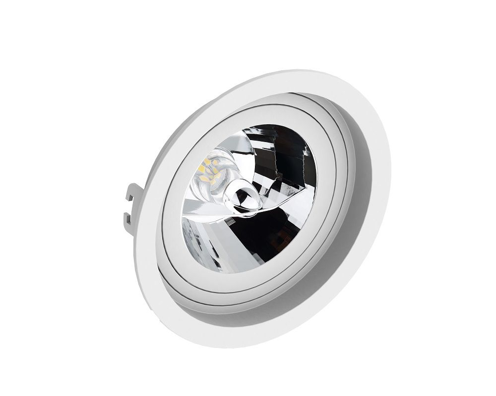 Spot Embutir Save Energy SE-330.1066 Redondo Recuado AR111 GU10 Ø170x35mm Branco