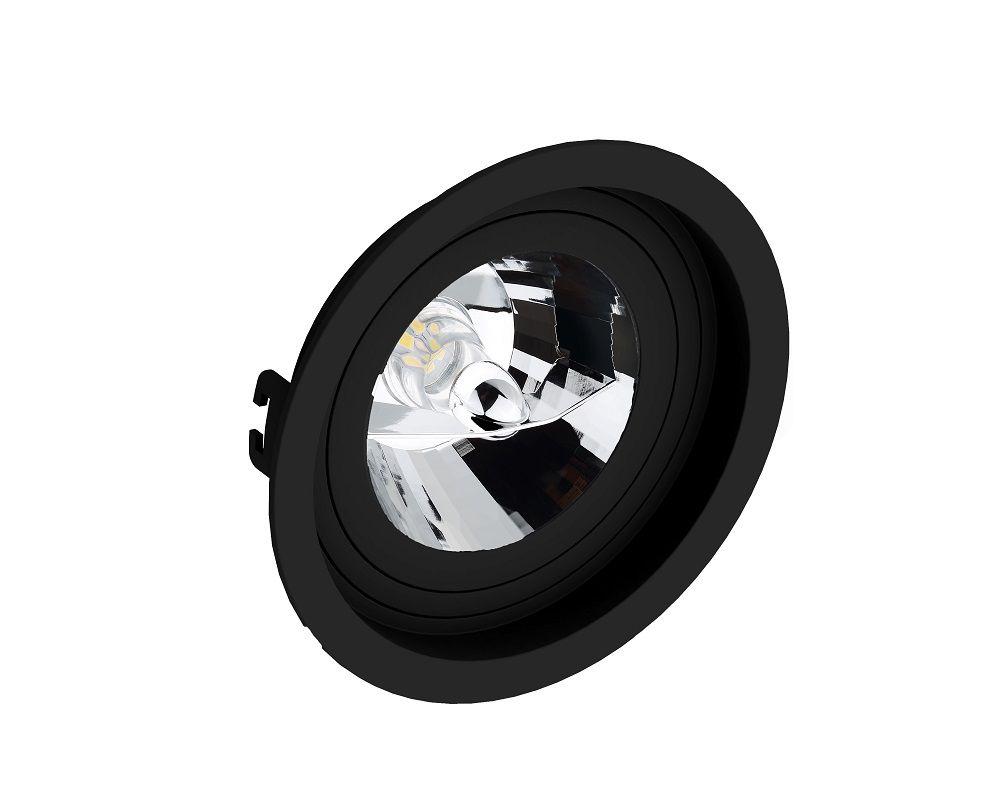 Spot Embutir Save Energy SE-330.1070 Redondo Recuado AR111 GU10 Ø170x35mm Preto