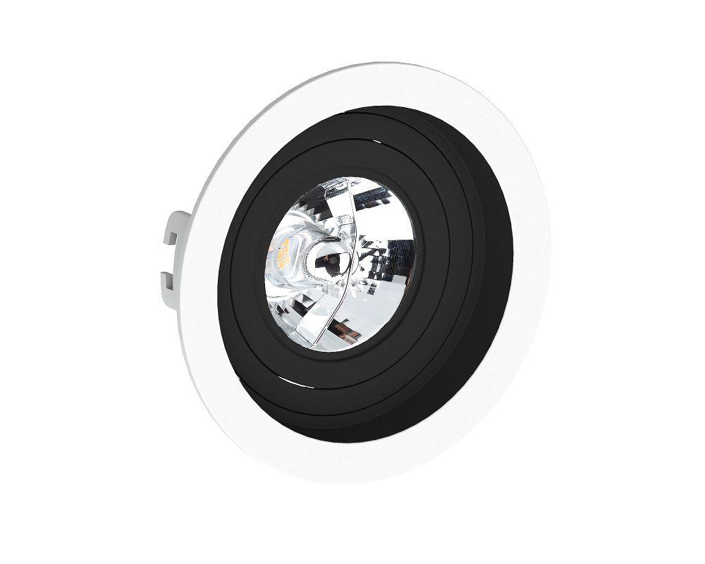 Spot Embutir Save Energy SE-330.1202 Redondo Recuado AR70 GU10 Ø130x35mm Branco/Preto
