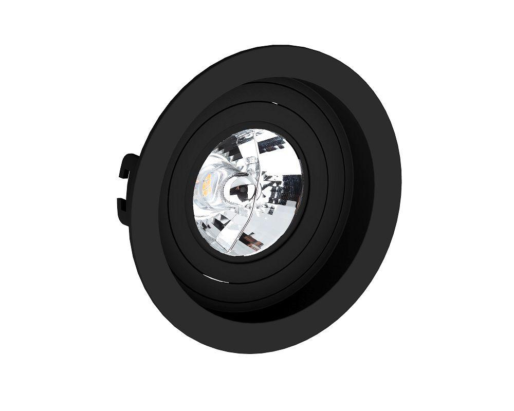 Spot Embutir Save Energy SE-330.1054 Redondo Recuado AR70 GU10 Ø130x35mm Preto