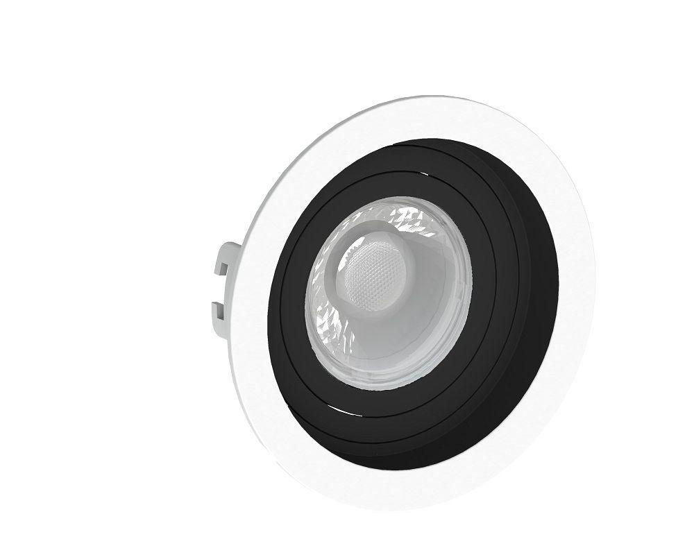 Spot Embutir Save Energy SE-330.1198 Redondo Recuado Dicróica/PAR16 GU10 Ø100x35mm Branco/Preto