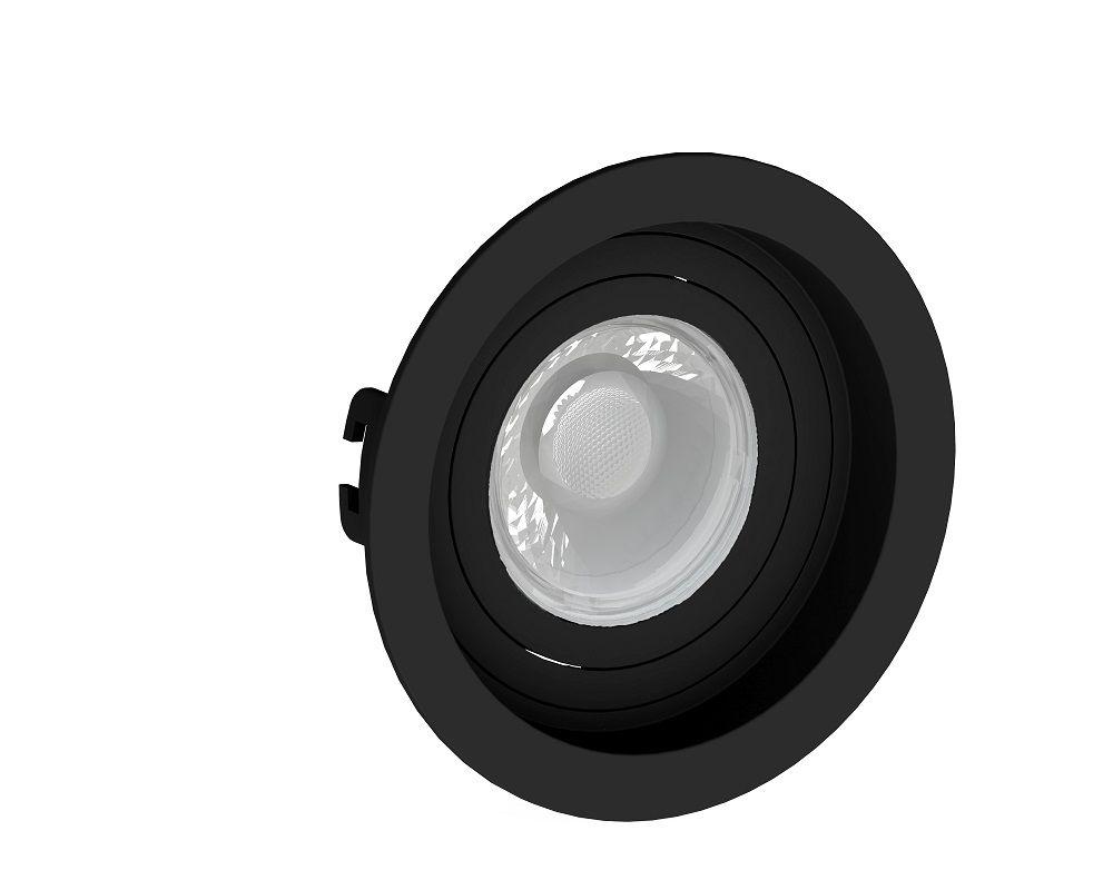 Spot Embutir Save Energy SE-330.1038 Redondo Recuado Dicróica/PAR16 GU10 Ø100x35mm Preto