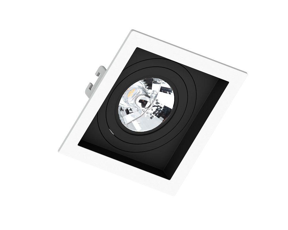 Spot Embutir Save Energy SE-330.1201 Quadrado Recuado AR70 GU10 130x130x35mm Branco/Preto