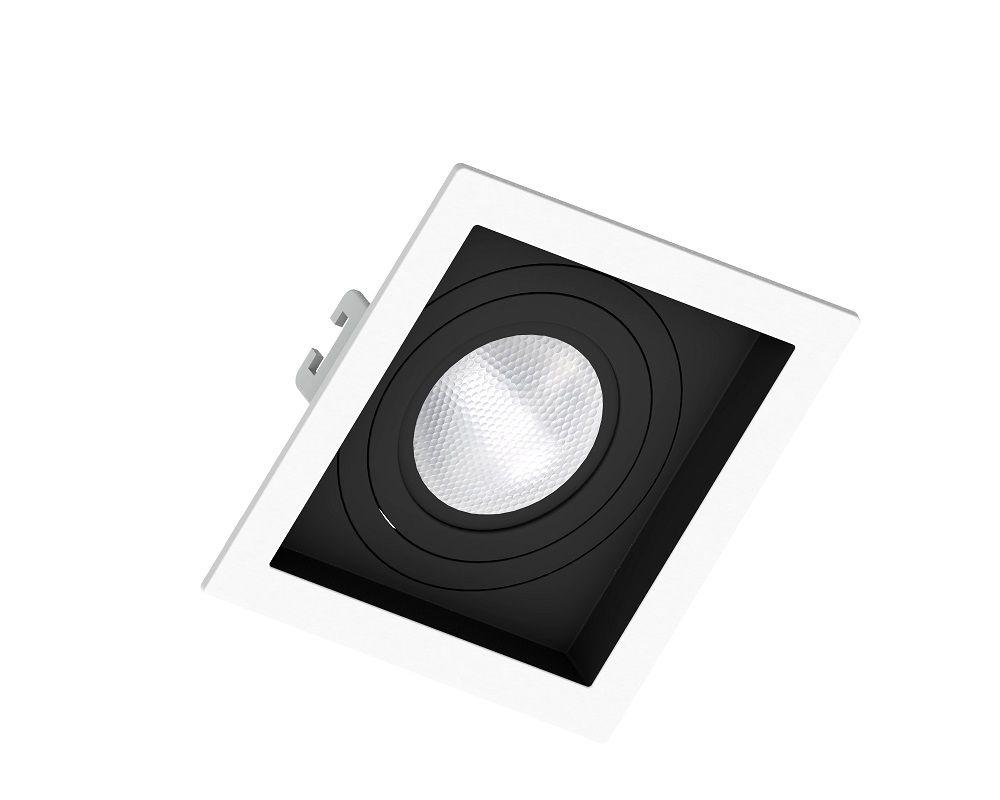 Spot Embutir Save Energy SE-330.1199 Quadrado Recuado PAR20 E27 130x130x35mm Branco/Preto