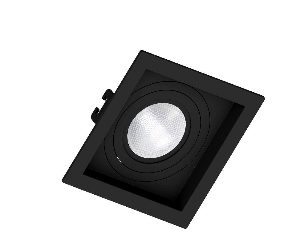 Spot Embutir Save Energy SE-330.1044 Quadrado Recuado PAR20 E27 130x130x35mm Preto