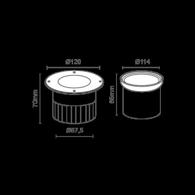 Embutido Solo LED Romalux 10069 12W 2700K IP66 Bivolt Ø120x70mm Preto