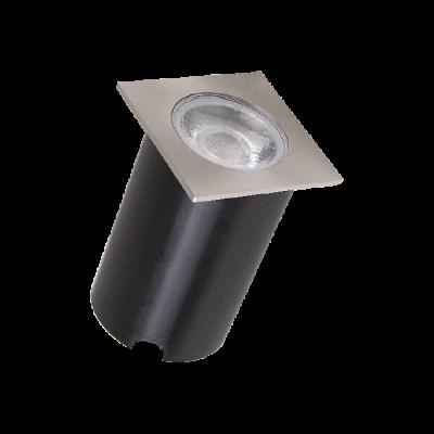 Embutido Solo LED Romalux 10075 4,5W 2700K IP66 Bivolt 60x60x56mm Inox