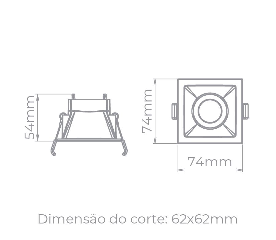 Spot Embutido Stella STH8910BR Square MR11 Mini Dicróica GU10 - Branco