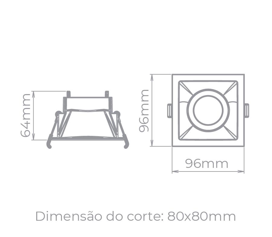 Spot Embutido Stella STH8915BR/PTO Square MR16 Dicróica/Par16 GU10 - Branco/Preto