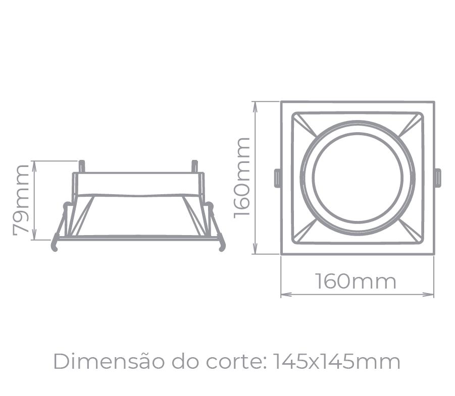 Spot Embutido Stella STH8935BR/PTO Square AR111 GU10 - Branco/Preto