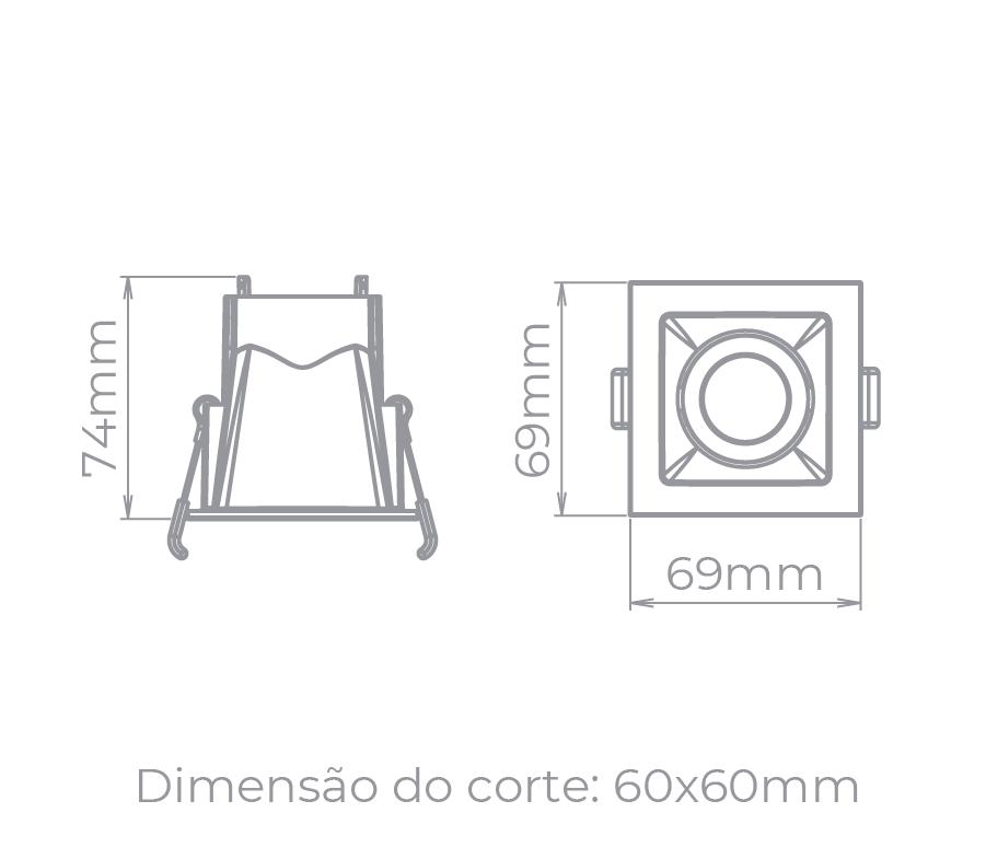 Spot Embutido Stella STH8940BR/PTO Square Ghost MR11 Mini Dicróica GU10 Branco/Preto
