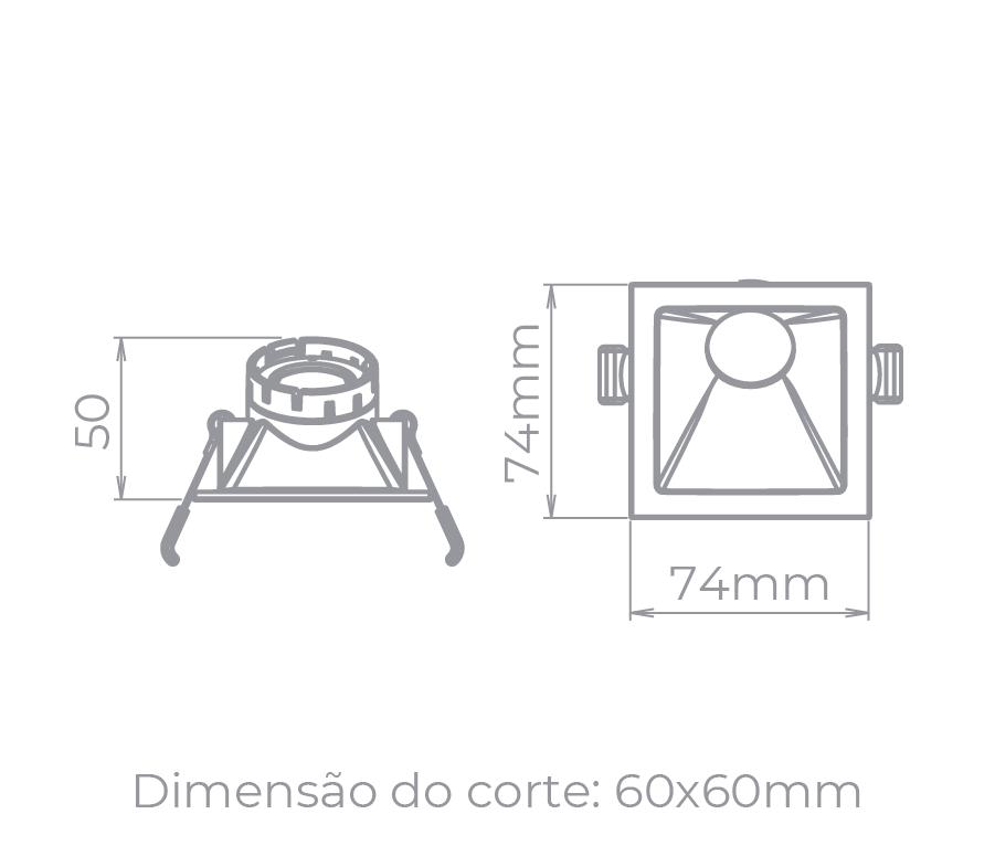 Spot Embutido Stella STH8960BR Square Angle Mini Dicróica GU10 MR11 25G - Branco