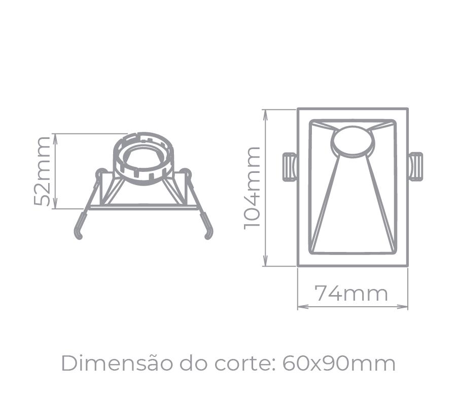 Spot Embutido Stella STH8965BR Square Angle Mini Dicróica GU10 MR11 40G - Branco