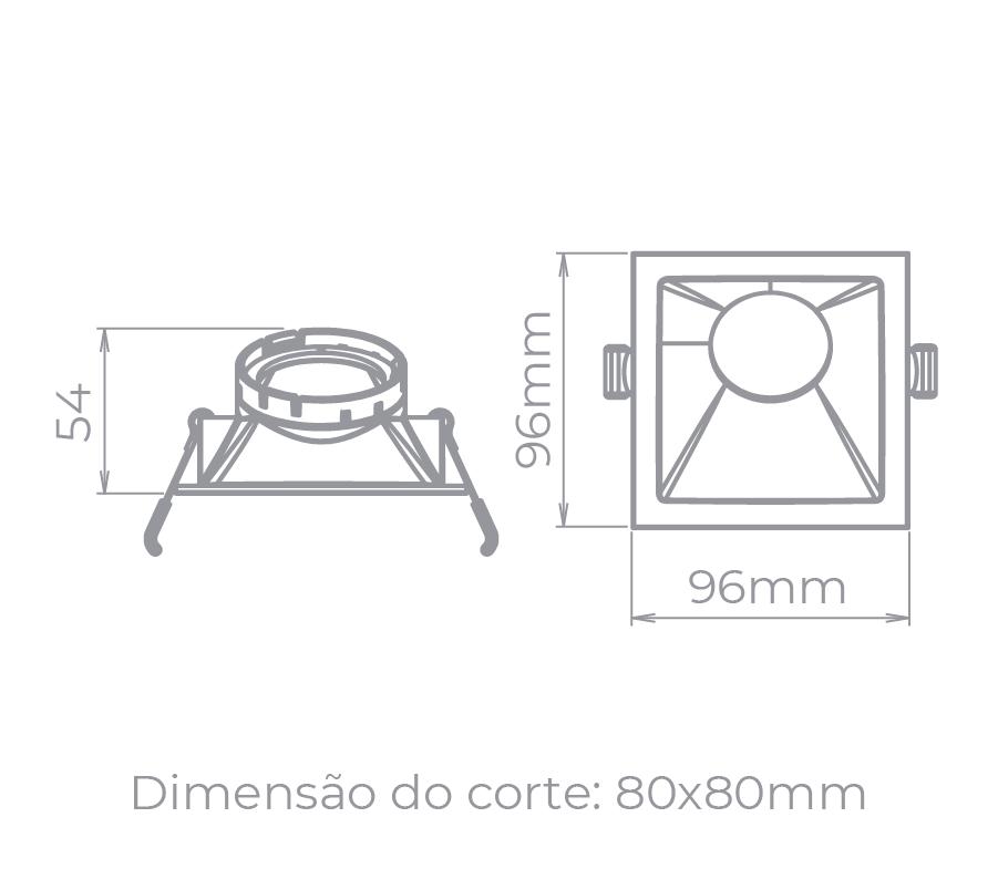Spot Embutido Stella STH8970BR/PTO Square Angle Dicróica/PAR16 GU10 MR16 25° - Branco/Preto