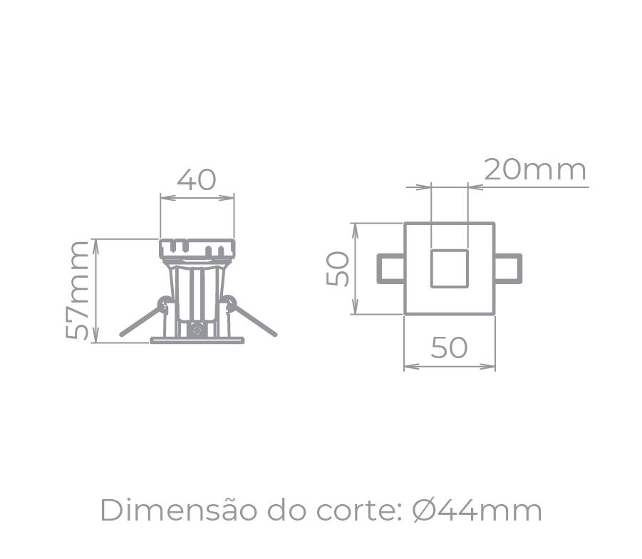 Spot Embutido Stella STH9910PTO Narrow MR11 Mini Dicróica GU10 - Preto