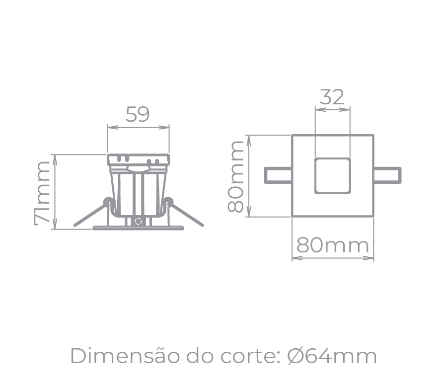 Spot Embutido Stella STH9915BR/PTO Narrow MR16 Dicróica/Par16 GU10 - Branco/Preto