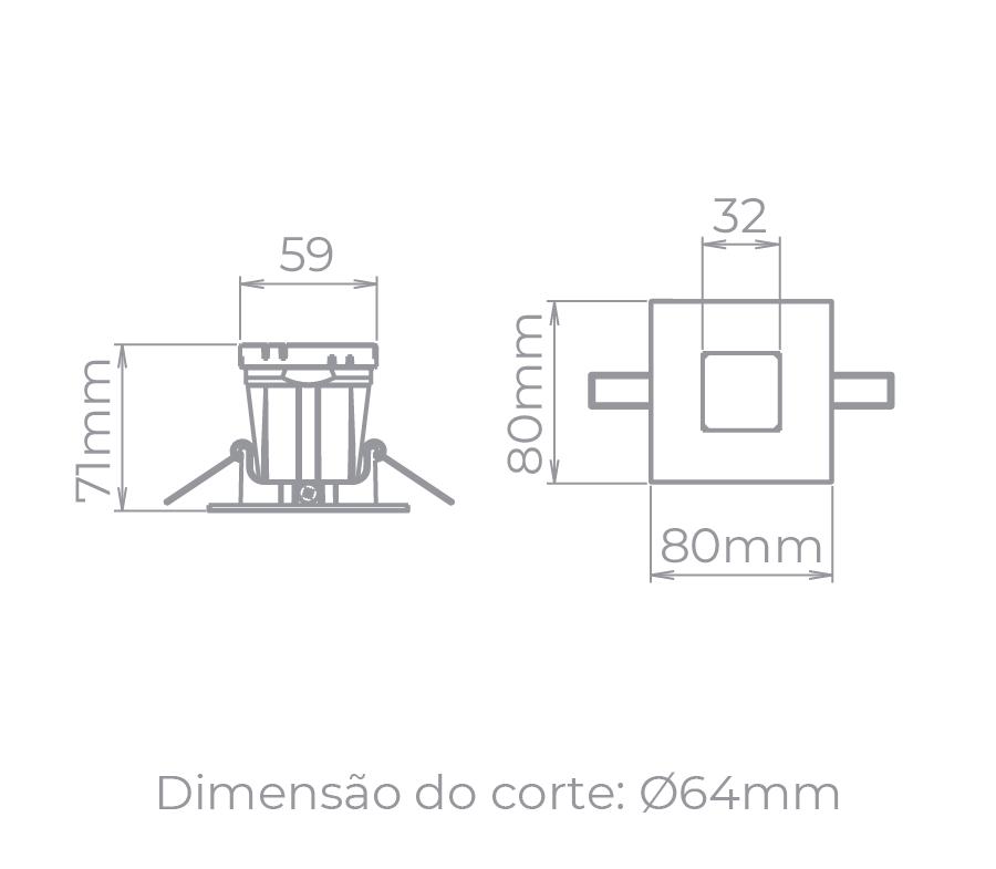 Spot Embutido Stella STH9915PTO Narrow MR16 Dicróica/Par16 GU10 - Preto
