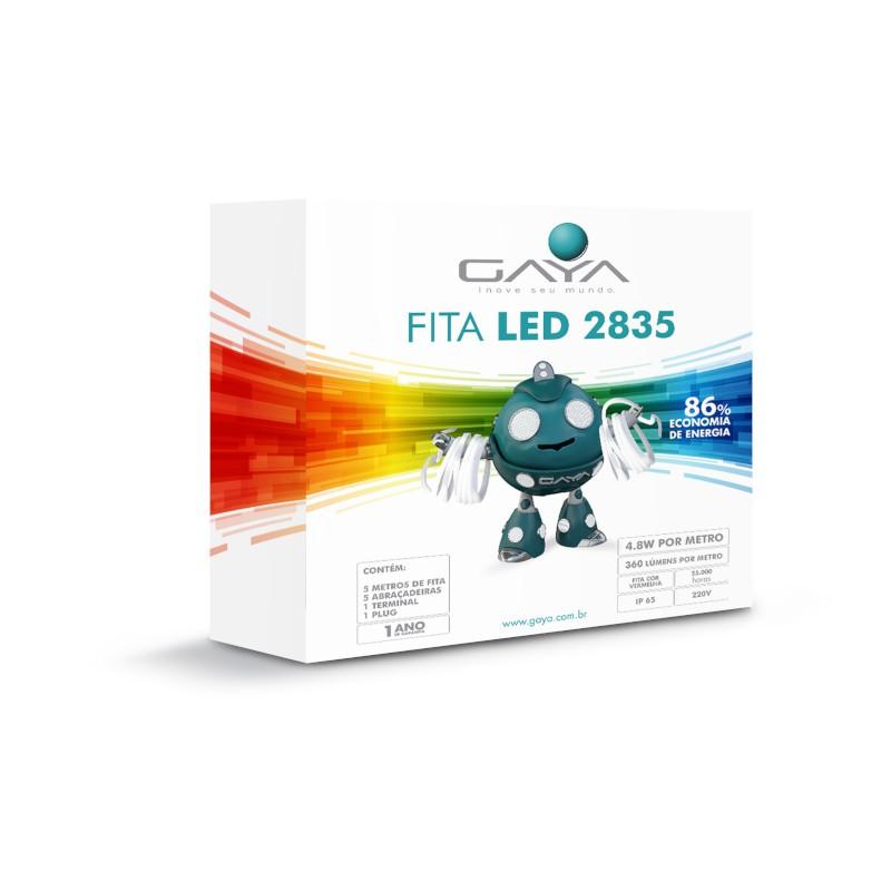 Fita LED 2835 Gaya 9013 220V 4,8W Vermelha IP65 Rolo de 5 Metros