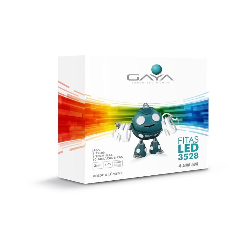 Fita LED 2835 Gaya 9015 220V 4,8W Verde IP65 Rolo de 5 Metros