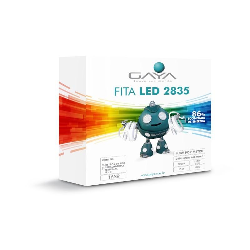 Fita LED 2835 Gaya 9017 110V 4,8W 6000K IP65 Rolo de 5 Metros