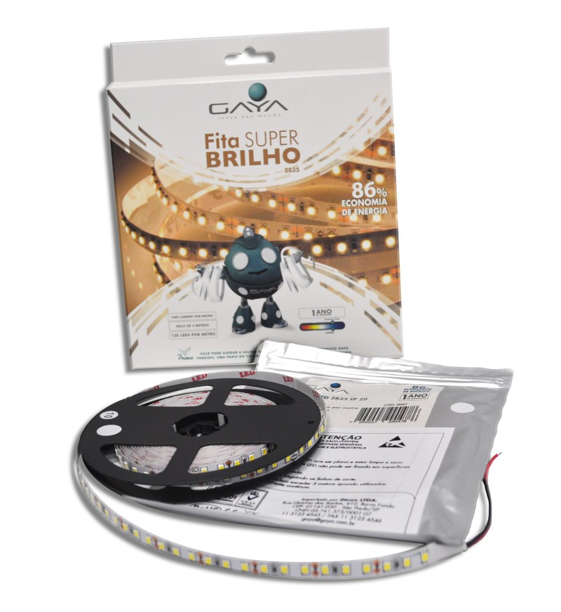 Fita LED 2835 Gaya 9047 12V 14,4W 6000K IP20 Rolo de 5 Metros