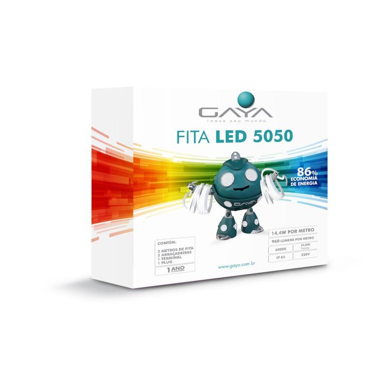 Fita LED 5050 Gaya 9022 220V 14,4W 6000K IP65 Rolo de 5 Metros