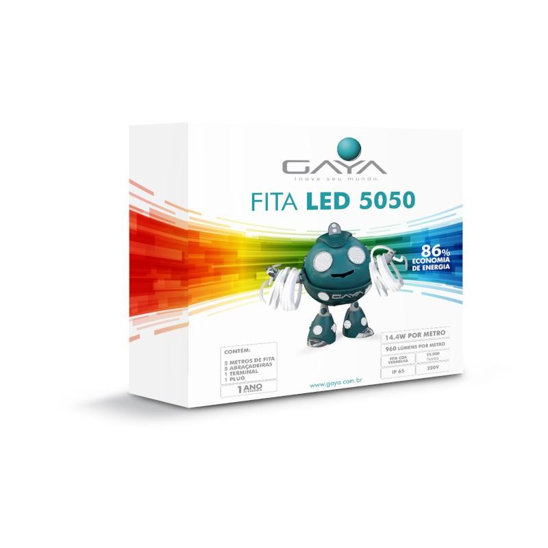 Fita LED 5050 Gaya 9023 220V 14,4W Vermelha IP65 Rolo de 5 Metros