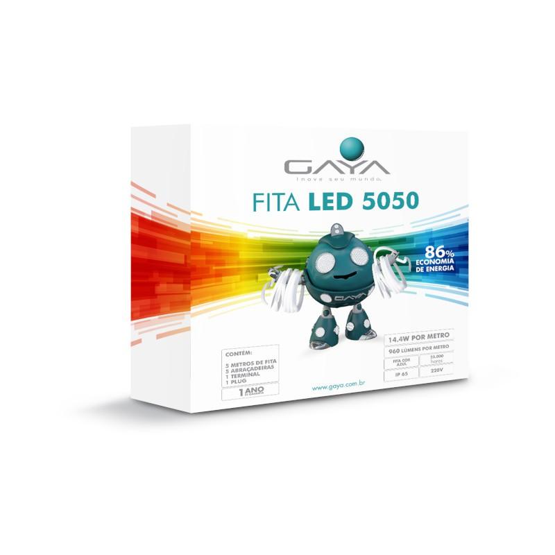 Fita LED 5050 Gaya 9024 220V 14,4W Azul IP65 Rolo de 5 Metros