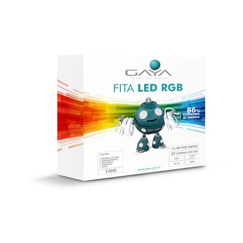 Fita LED Gaya 9031 220V 14,4W RGB IP65 Rolo de 5 Metros