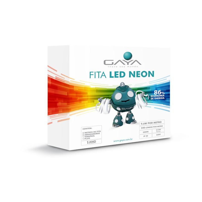 Fita LED Neon Gaya 9001 220V 9,6W 3000K IP65 Rolo de 5 Metros