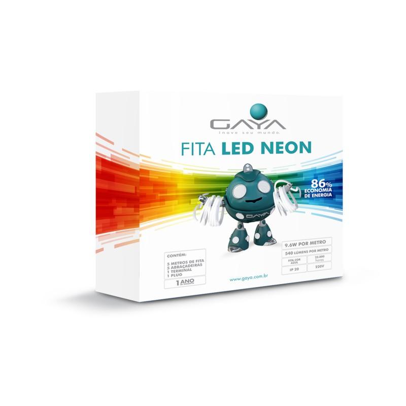 Fita LED Neon Gaya 9004 220V 9,6W Azul IP65 Rolo de 5 Metros